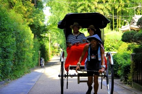 Enjoying a ride in a Rickshaw