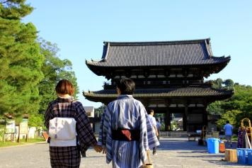 Traditionally Dressed Couple Strolling around Ninna-Ji