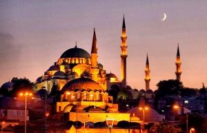 The Sultanahmet Camii, Turkey - Lit at Night