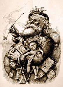 Nast's 1881 Original Lithograph depicting his, and now the modern, version of St. Nick