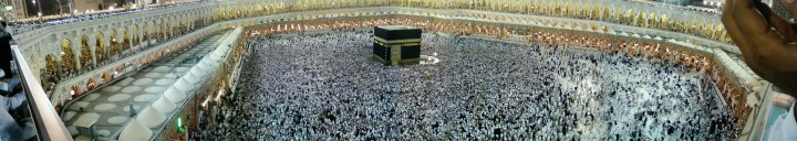 The cuboid Kaaba (center) was supposedly built by Abraham as the first place to worship Allah (God).