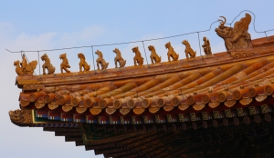 Roof Charms on the Emperor's Palace showing Highest Possible Status (notice the Immortal Guardian in front of the Dragon)