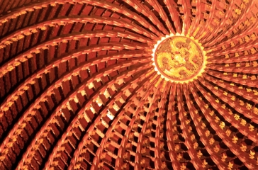 Ceiling Above a Buddha (notice the Dragon in the Center)