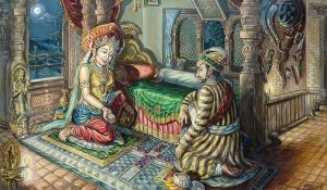 King Jayaprakash Malla with the Goddess Taleju Bhavani