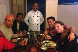 Nepali Meal with some of the Kantipur Temple House Staff (incl. their Executive Chef)!