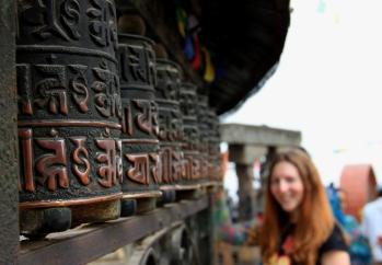 Buddhist Prayer Wheels at the Swayambunath Stupa - Kathmandu, Nepal