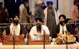 Sikh Musicians Aiding Meditation at the Gurdwara Bangla Sahib in Delhi, India