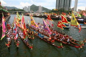 Dragon Boat Crews Preparing to Race on Duanwu