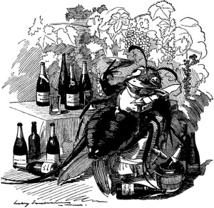 Political Cartoon Depicting an Inebriated Insect, Gorging on French Wine