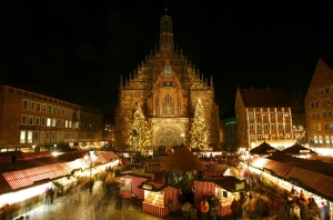 Christkindlemarkt at Night in Front of the Frauenkirche