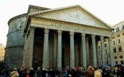 The Pantheon in Rome which used to house statues of Roman gods, but now portrays only Christian Saints