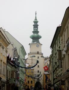 Central Street of Bratislava & St. Mark's Gate/Tower