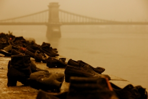 Shoes on the Danube Memorial (with the Chain Bridge in the background)