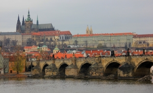The Charles Bridge with Prague Castle and St. Vitus Cathedral Behind