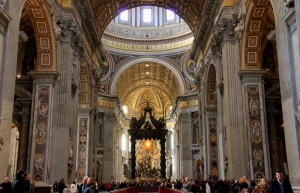 Interior of the Basilica di St. Pietro (Technically inside the Vatican City)
