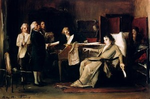 Mozart Directing Requiem on his Deathbed