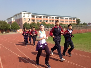 Chinese Students Running with Jen
