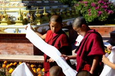 Little Monks Folding a Khata